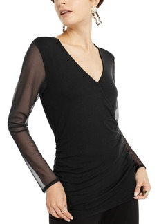 INC International Concepts Inc Surplice Illusion Top, Created for Macy's