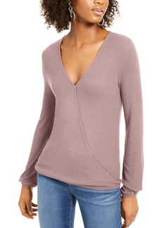 INC International Concepts Inc Surplice Ribbed Top, Created For Macy's