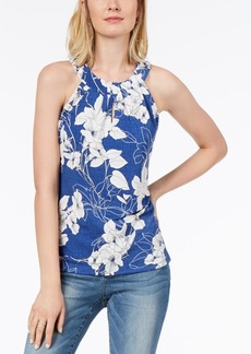 INC International Concepts I.n.c. Textured-Floral Print Keyhole Top, Created for Macy's