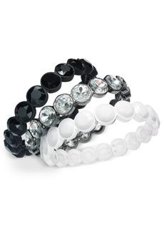 INC International Concepts Inc Tri-Tone 3-Pc. Set Crystal & Stone Stretch Bracelets, Created For Macy's