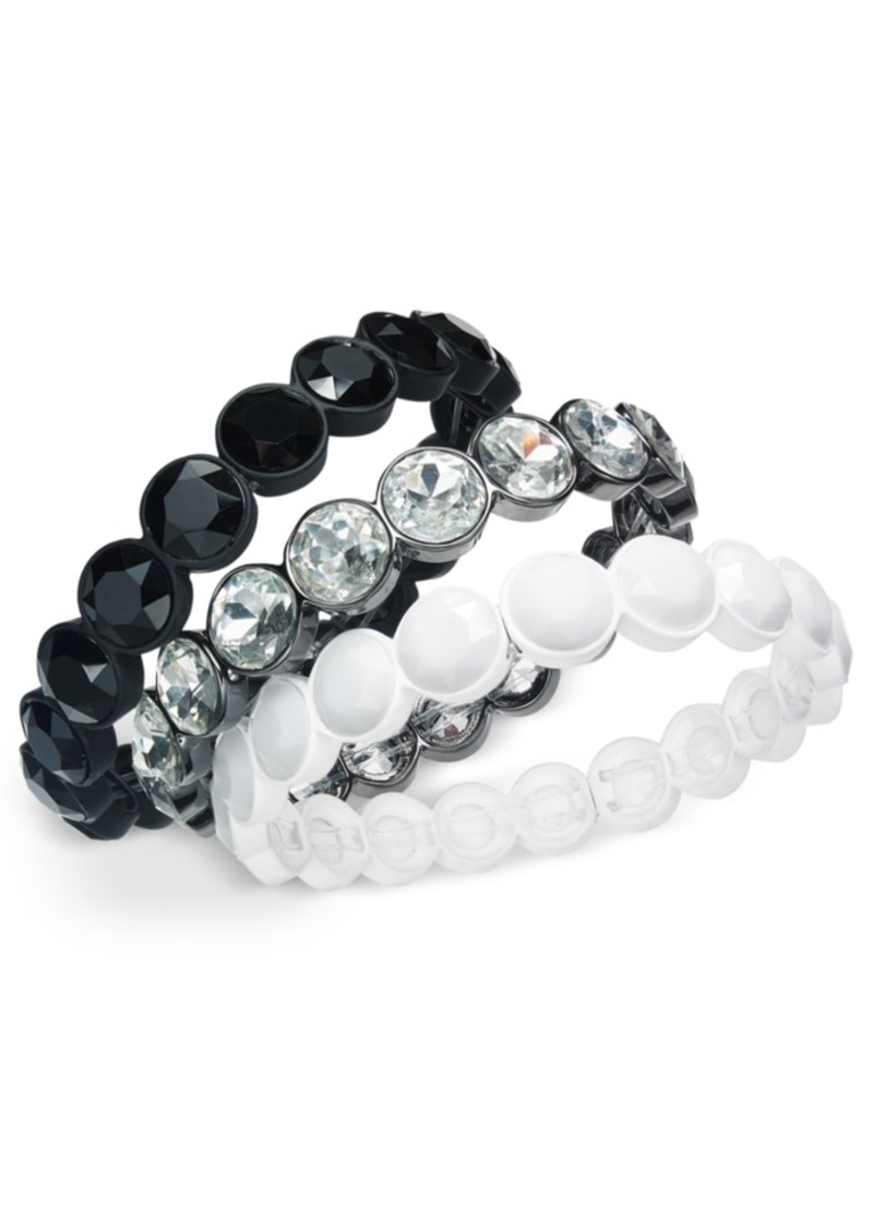 INC International Concepts Inc Tri-Tone 3-Pc. Set Crystal & Stone Stretch Bracelets, Created For Macy's
