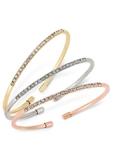 INC International Concepts Inc Tri-Tone 3-Pc. Set Crystal Bangle Bracelets, Created for Macy's