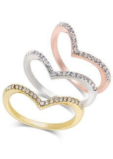 INC International Concepts Inc Tri-Tone 3-Pc Set Crystal Chevron Stackable Rings, Created for Macy's