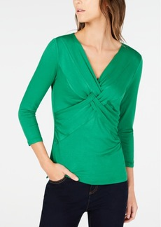 INC International Concepts Inc Petite Twist-Front 3/4-Sleeve Top, Created for Macy's