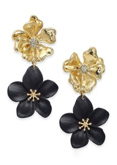 INC International Concepts Inc Two-Tone Pave Flower Double Drop Earrings, Created For Macy's