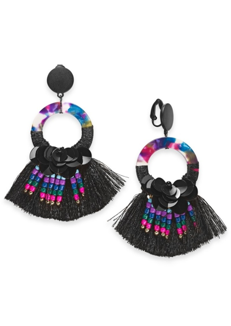 INC International Concepts Inc Two-Tone Sequin, Bead, Multicolor Hoop & Fringe Clip-On Drop Earrings, Created For Macy's