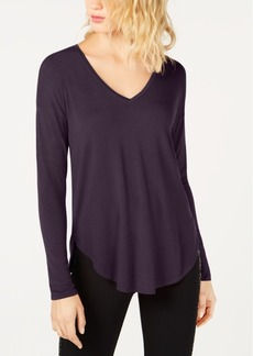 INC International Concepts I.n.c. V-Neck Curved-Hem T-Shirt, Created for Macy's