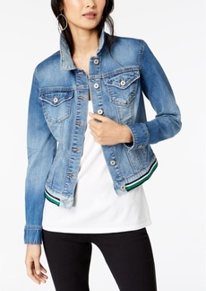 INC International Concepts I.n.c. Varsity-Stripe Denim Jacket, Created for Macy's