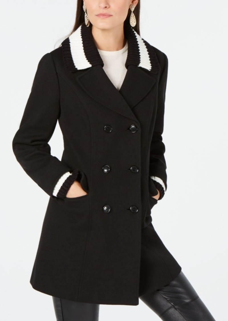 quality and quantity assured search for authentic low priced I.n.c. Varsity Sweater-Trim Peacoat, Created for Macy's