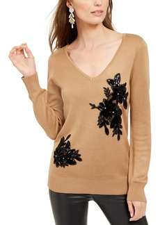 INC International Concepts Inc Velvet Applique Sweater, Created For Macy's