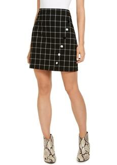 INC International Concepts Inc Windowpane Plaid Button Wrap Mini Skirt, Created for Macy's