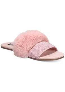 INC International Concepts Inc Women's Double-Band Faux-Fur Slippers, Created For Macy's