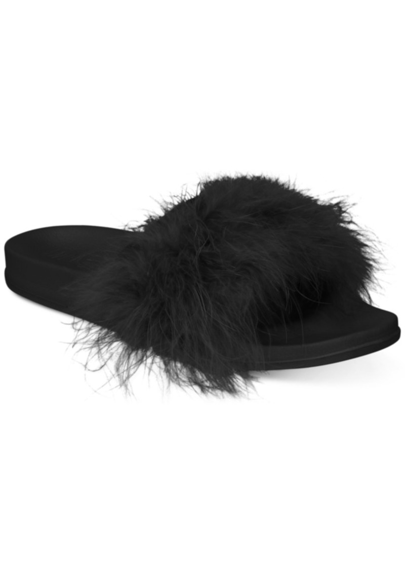INC International Concepts Inc Women's Faux-Marabou Slide Slippers, Created for Macy's