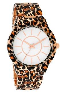 INC International Concepts Inc Women's Gold-Tone Leopard-Print Bracelet Watch 38mm, Created for Macy's