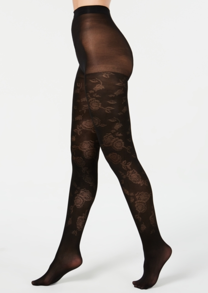 INC International Concepts Inc Women's Jacquard Floral Tights, Created for Macy's