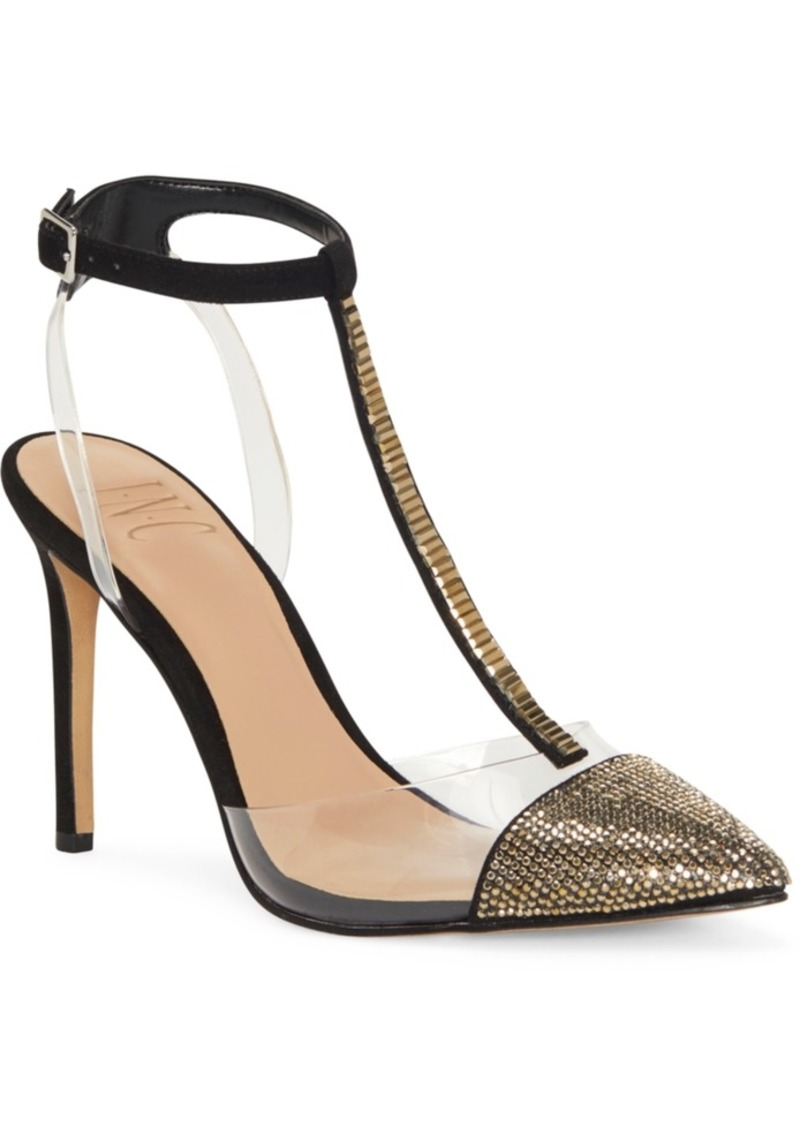 INC International Concepts Inc Women's Kaylona Gold Cap-Toe T-Strap Pumps, Created For Macy's Women's Shoes