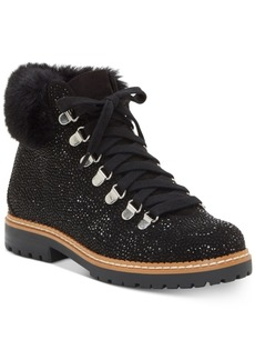 INC International Concepts Inc Women's Pravale Lace-Up Hiker Bling Booties, Created for Macy's Women's Shoes