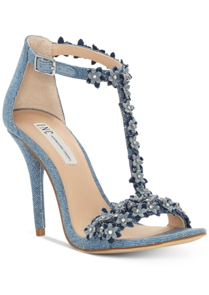 INC International Concepts I.n.c. Women's Rosiee T-Strap Embellished Evening Sandals, Created for Macy's Women's Shoes