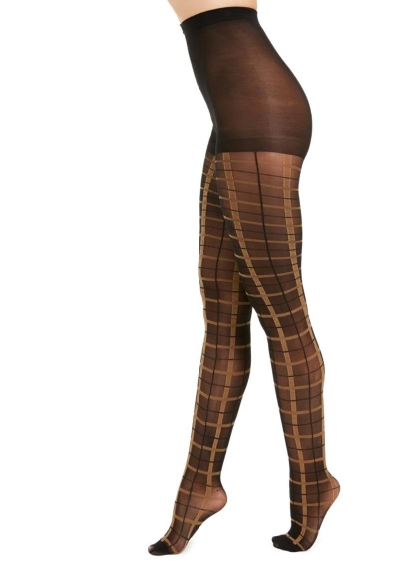 INC International Concepts I.n.c. Women's Windowpane-Plaid Tights, Created For Macy's