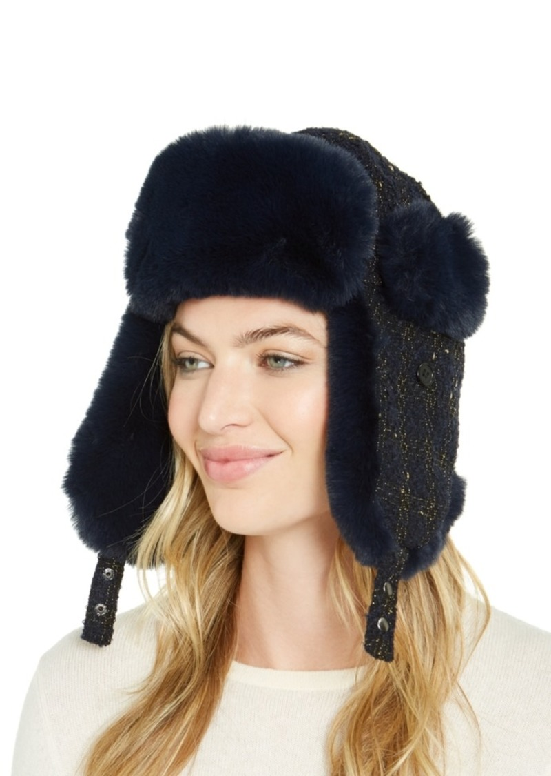 INC International Concepts Inc Woven Shine Faux Fur Trapper, Created For Macy's