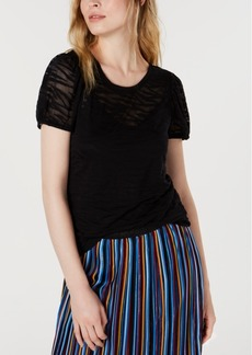 INC International Concepts Inc Petite Zebra-Print Burnout Top, Created for Macy's