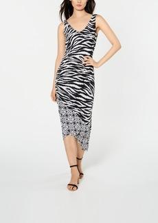 INC International Concepts Inc Zebra-Print Ruched Midi Dress, Created for Macy's