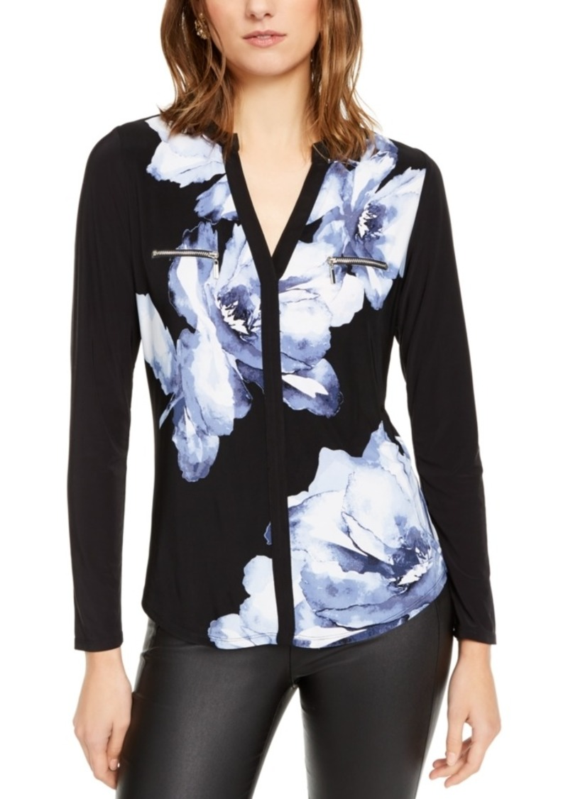 INC International Concepts Inc Petite Printed Split-Neck Zip-Pocket Top, Created For Macy's