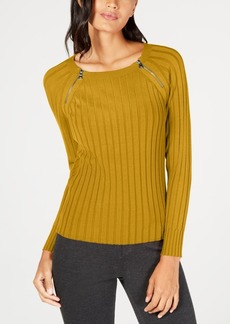 INC International Concepts Inc Zipper-Detail Raglan Sleeve Sweater, Created for Macy's