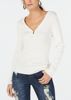 INC International Concepts Inc Zipper Embellished Sweater, Created for Macy's