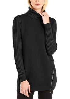 INC International Concepts Inc Zipper-Trim Tunic Sweater, Created for Macy's