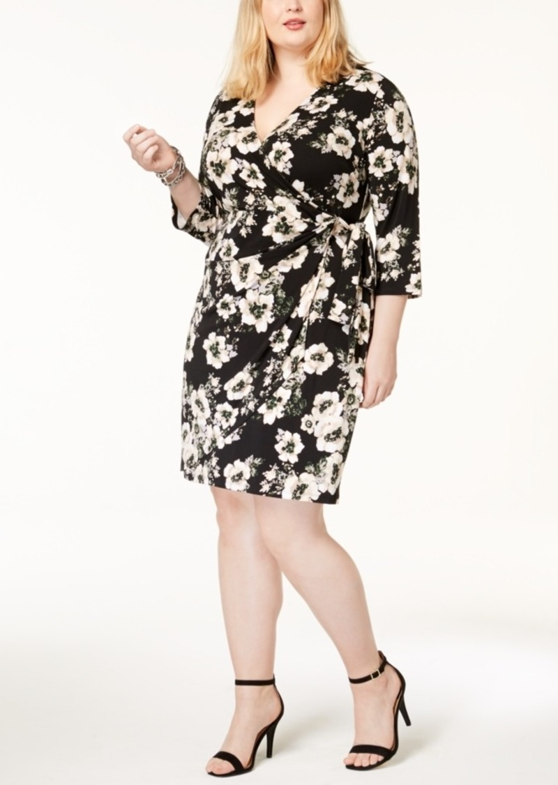 I.n.c Plus Size Printed Faux-Wrap Dress, Created for Macy\'s