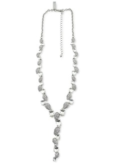 """INC International Concepts Silver-Tone Crystal Teardrop Lariat Necklace, 16"""" + 3"""" extender, Created for Macy's"""