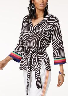 INC International Concepts Trina Turk x I.n.c. V-Neck Belted Blouse, Created for Macy's