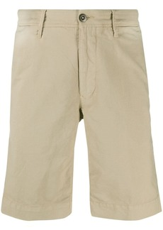Incotex front logo patch crease effect shorts