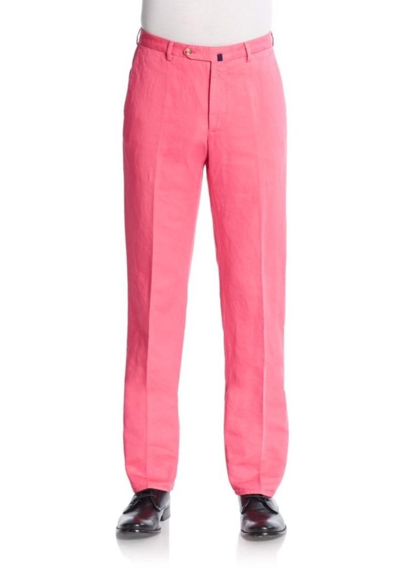 Incotex Ben Linen & Cotton Straight Leg Trousers