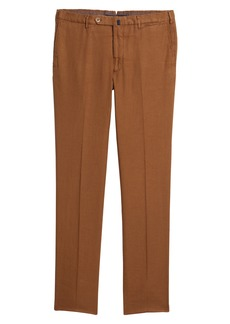 Incotex Flat Front Stretch Linen & Cotton Trousers