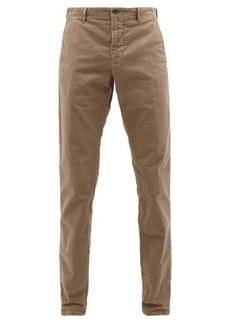 Incotex Logo-embroidered garment-dyed cotton-blend chinos