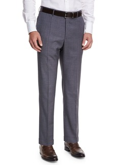 Incotex Micro-Check Wool Straight-Leg Trousers