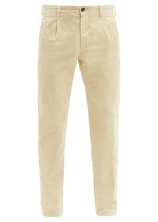 Incotex Pleated cotton-blend corduroy tapered trousers