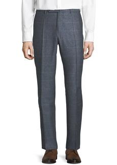 Incotex Men's Windowpane Silk-Blend Melange Trousers