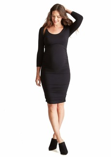 Ingrid & Isabel 3/4 Sleeve Shirred Maternity Dress | Soft Knit | Grows with You