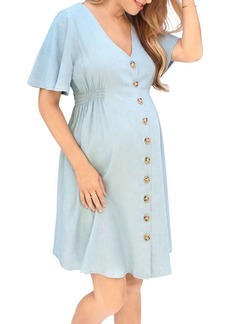Ingrid & Isabel Flutter Sleeve Chambray Maternity Dress