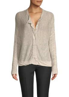 Inhabit Buttoned Linen Cardigan