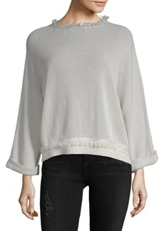Inhabit Fray-Trimmed Mesh Sweater