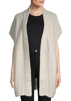 INHABIT Open Front Crochet Cardigan