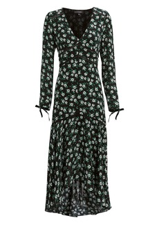 Intermix Athena Silk Floral Tie Sleeve Dress