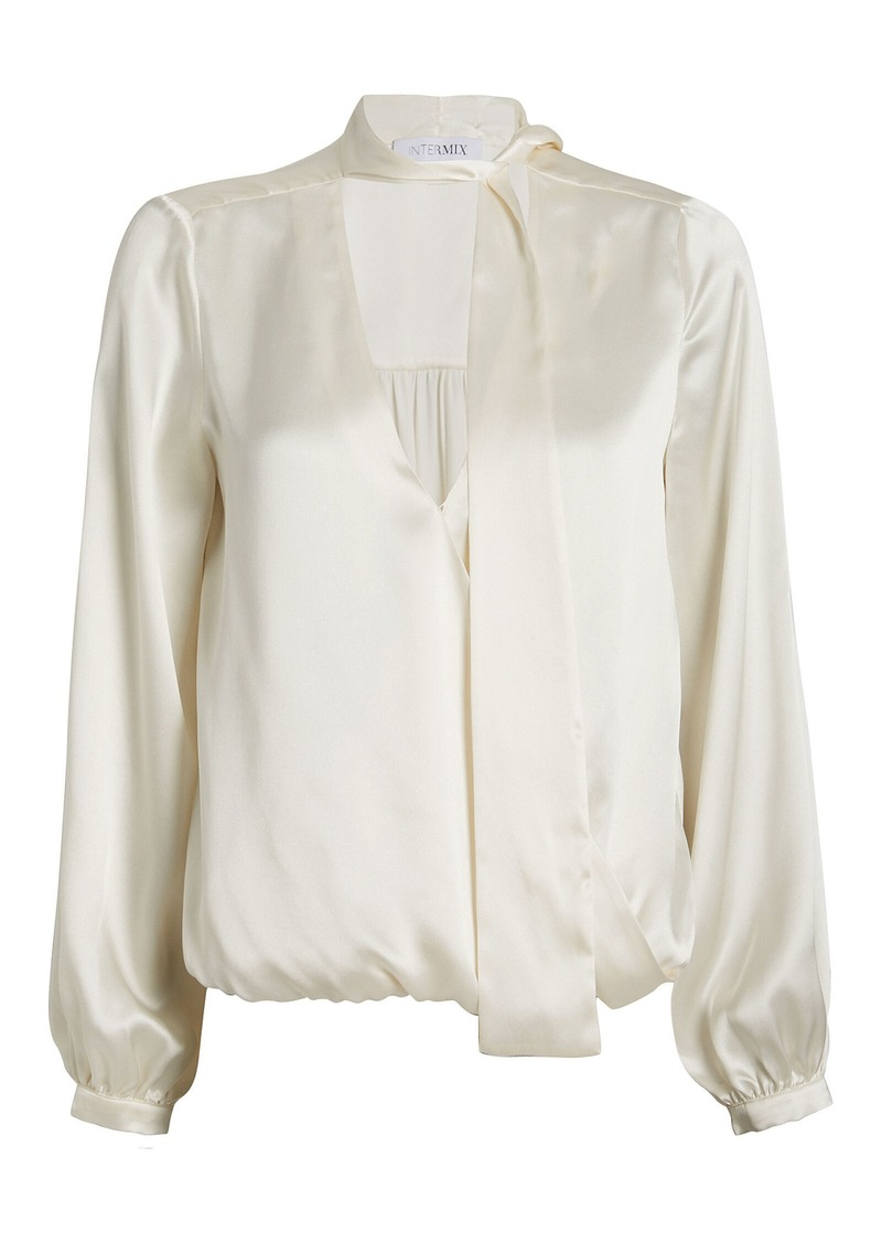 Cadence Silk Charmeuse Tie Neck Blouse