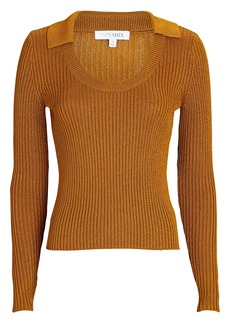 Intermix Collared Scoop Neck Knit Top