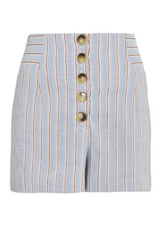 Intermix Delany Striped Linen High Waist Shorts