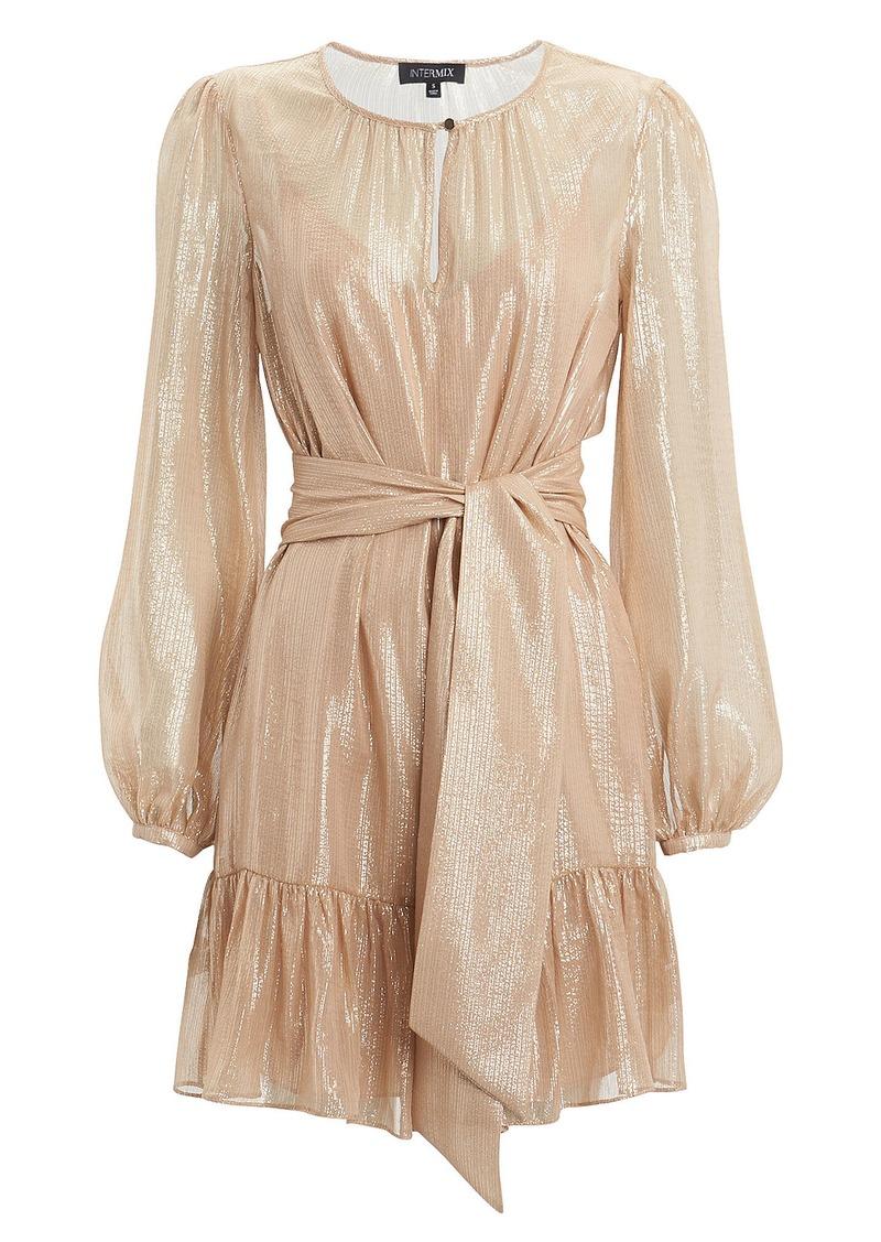 Intermix Margot Metallic Striped Georgette Dress